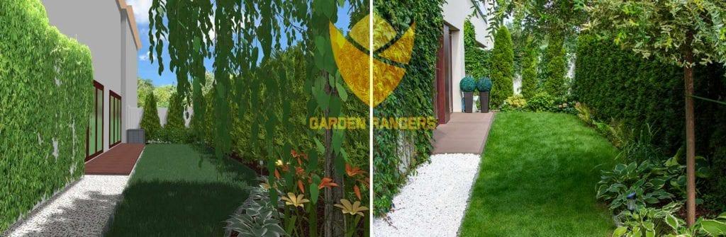 porównanie projektu i wykonania ogrodu