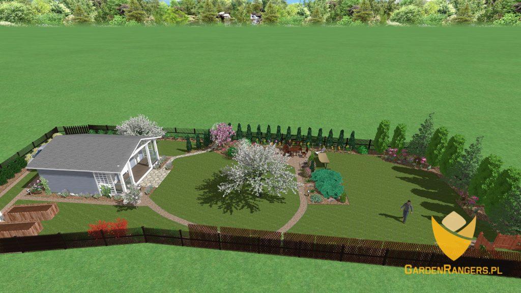 Rzut izometryczny na projekt ogrodu ROD