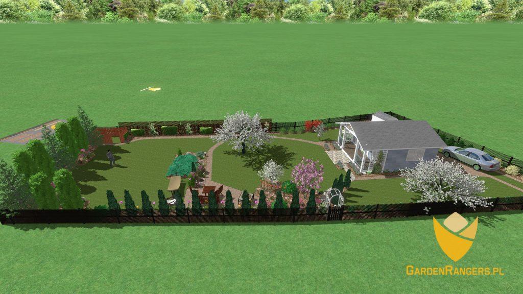 Rzut izometryczny - wizualizacja 3D ogrodu